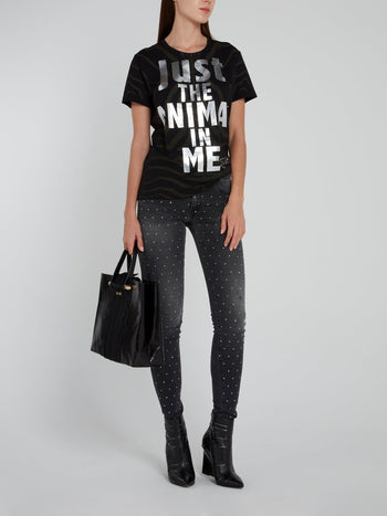 Black Zebra Print Statement T-Shirt