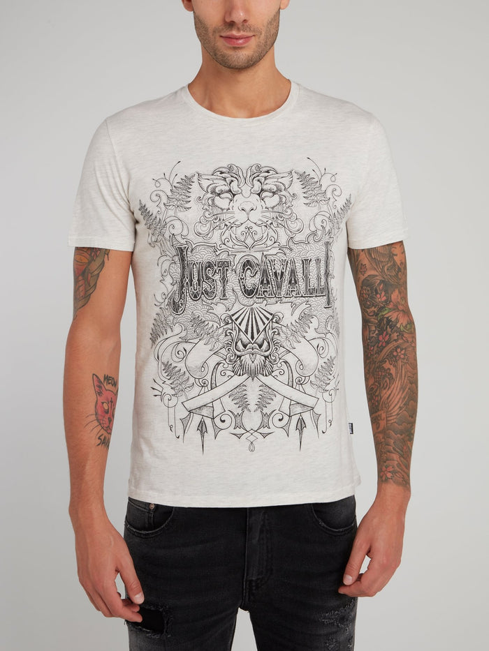 White Sketch Print Logo Shirt