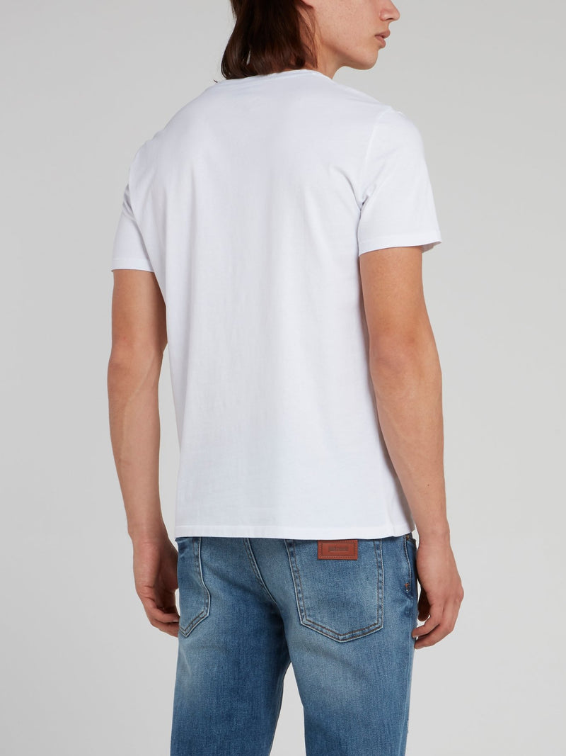 White Statement Cotton Shirt