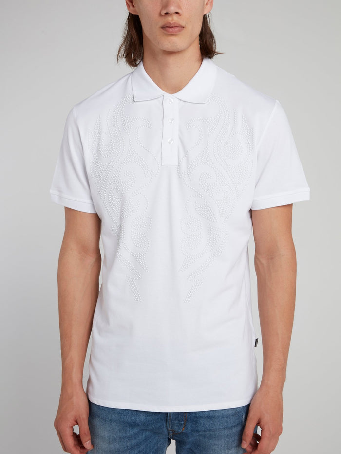 White Multi-Stud Polo Shirt