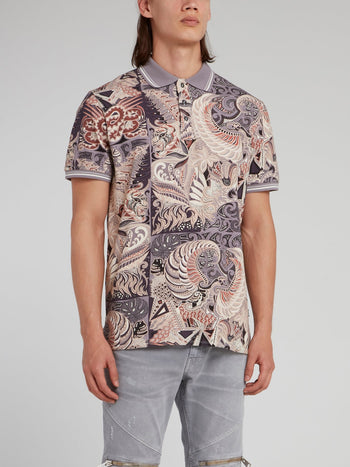 Purple Jacquard Print Polo Shirt