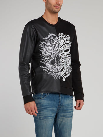 Black Leather Panel Sweatshirt