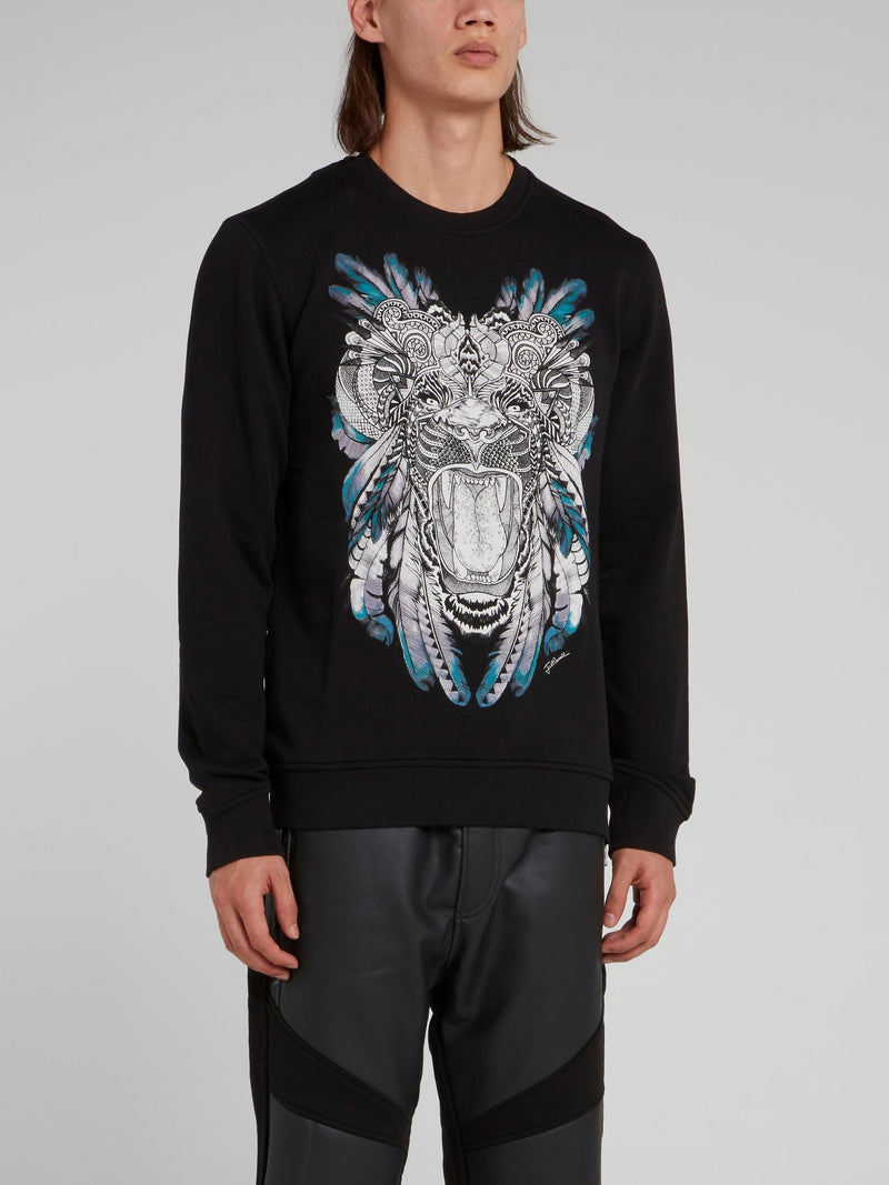 Black Tiger Print Sweatshirt