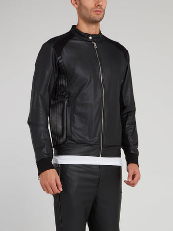 Black Leather Sweat Jacket