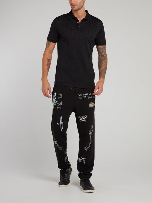 Gothic Doodle Print Trousers