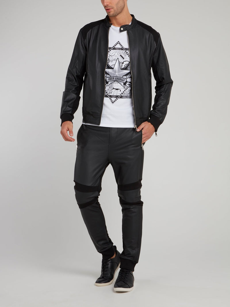 Black Drawstring Leather Trousers