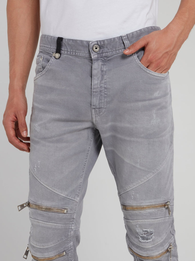 Grey Zipper Embellished Distressed Pants
