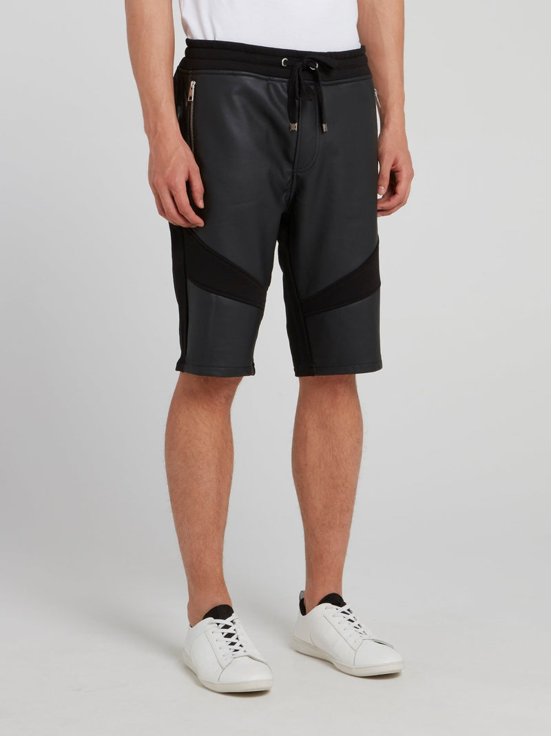 Black Drawstring Leather Panel Shorts