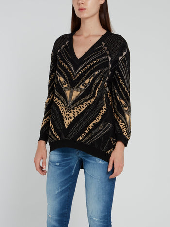Black Chevron V-Neck Pullover
