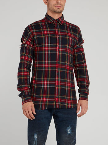 Plaid Cut Out Sleeve Shirt