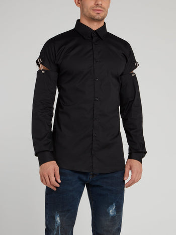 Black Cut Out Sleeve Shirt