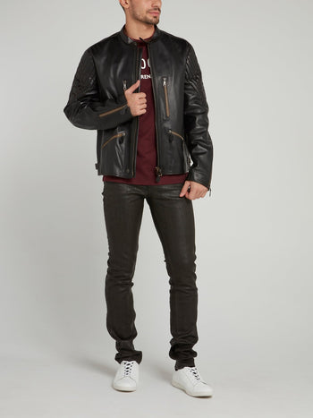 Ovis Aries Leather Biker Jacket