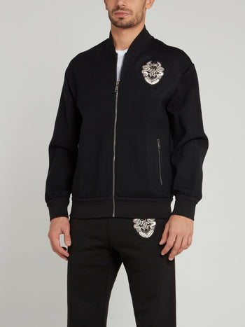 Black Appliquéd Woven Bomber Jacket