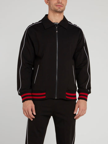 Black Collared Zip Up Jacket