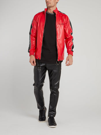 Red High Neck Leather Jacket