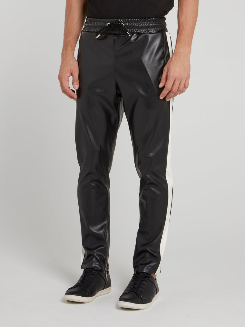 Black Drawstring Leather Pants