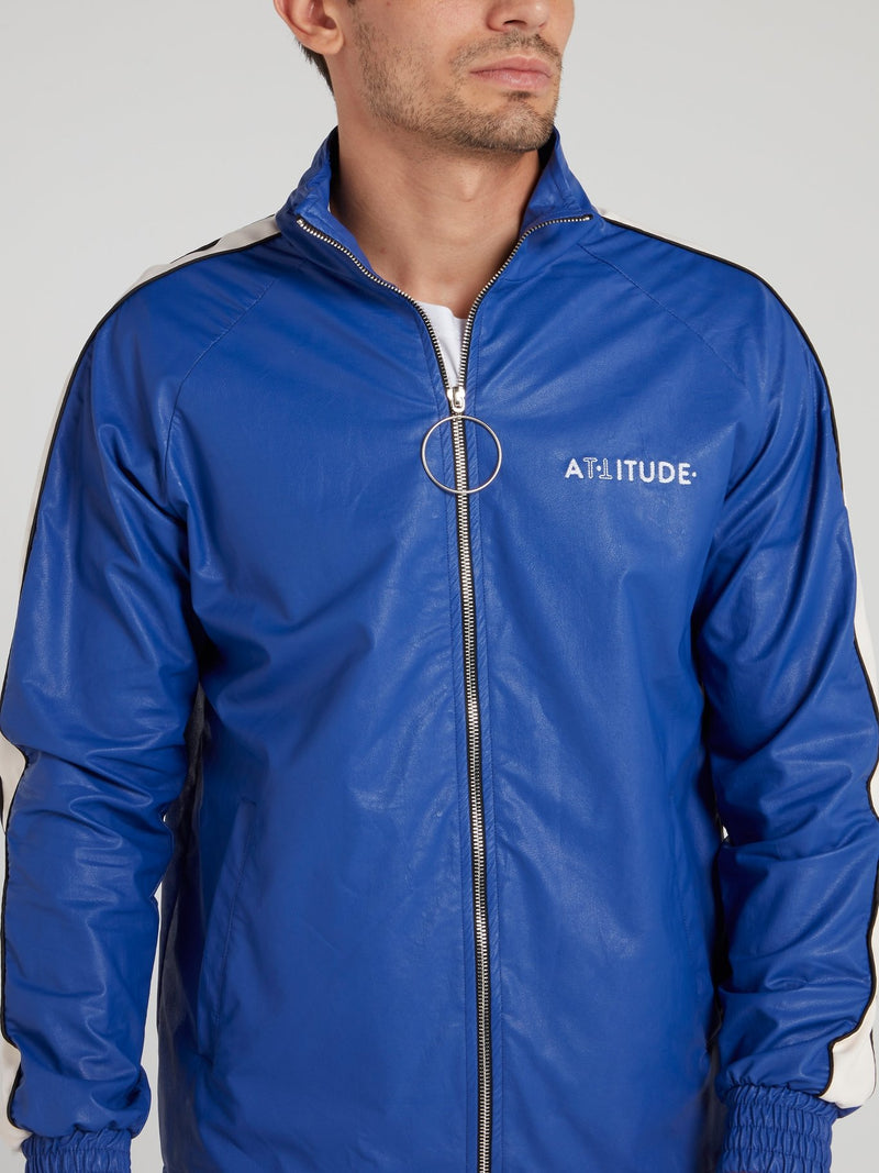 Blue High Neck Leather Jacket