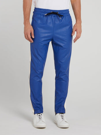 Blue Drawstring Leather Pants
