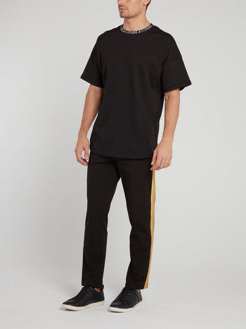 Gold Glitter Taped Black Drawstring Pants