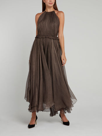 Frill Halter Silk Maxi Dress