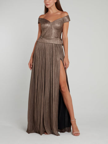 Metallic Tulle Maxi Skirt