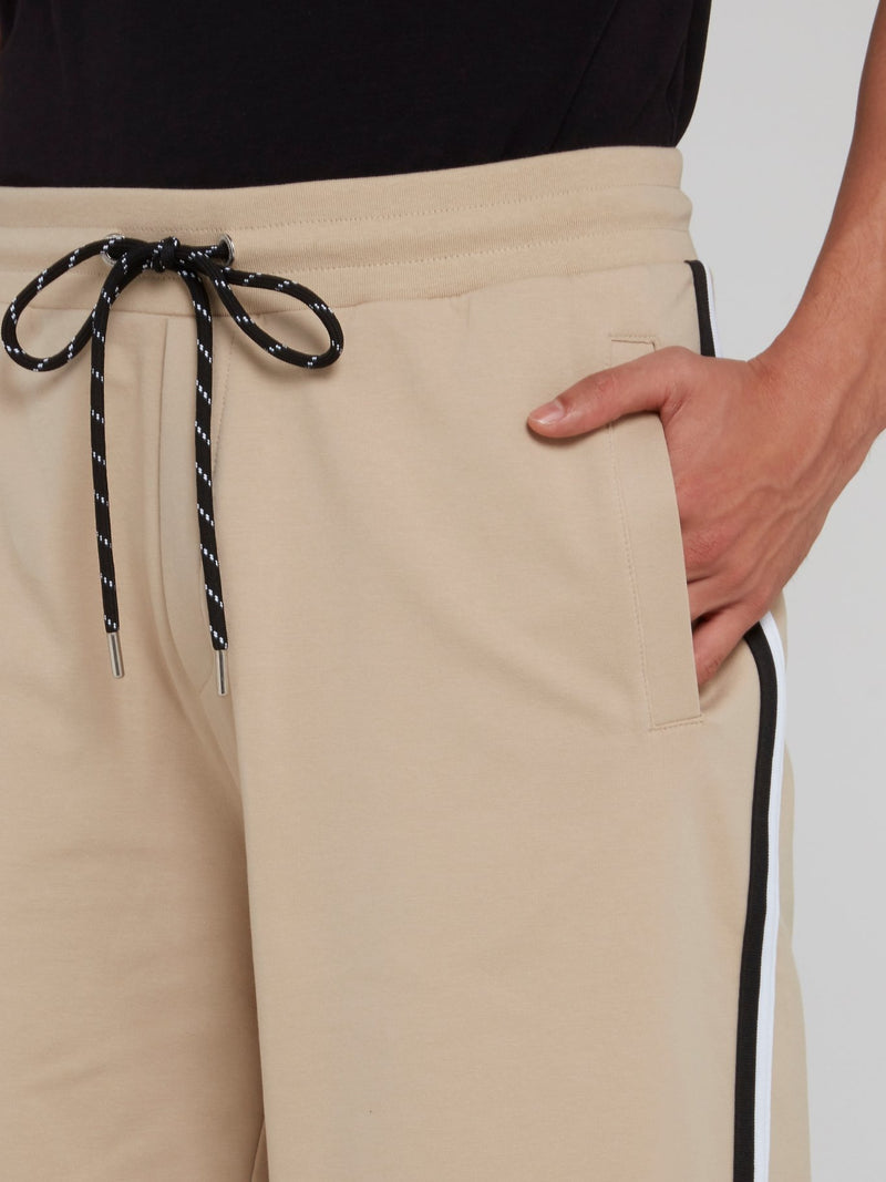 Beige Drawstring Active Shorts