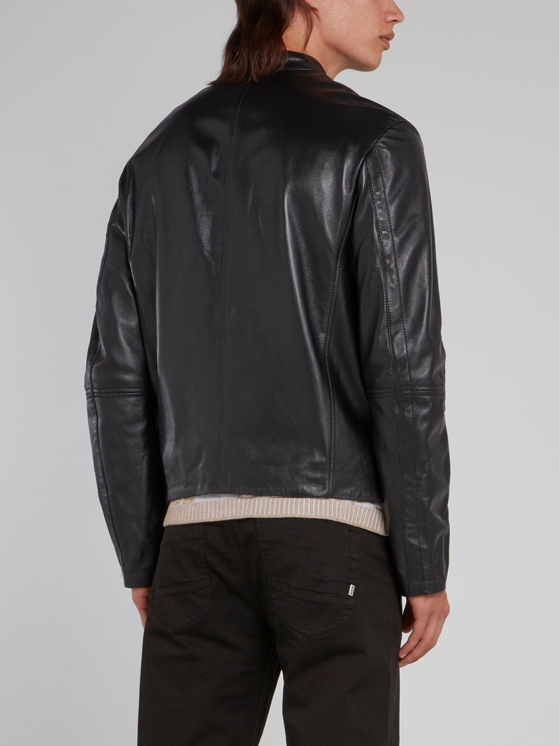 Black Clasp Neck Leather Jacket