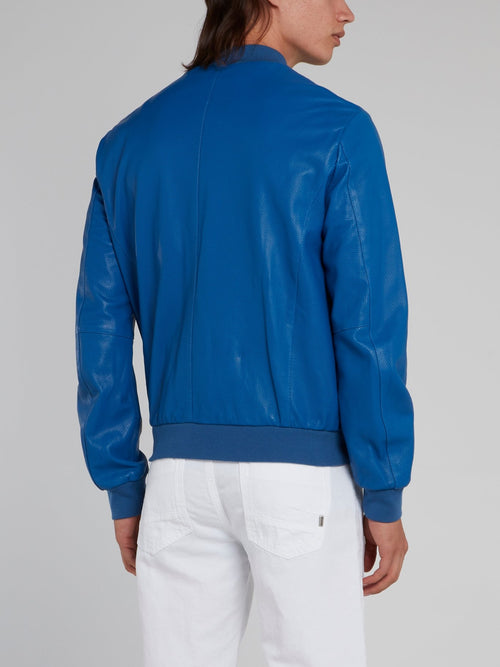 Blue Perforated Bomber Jacket