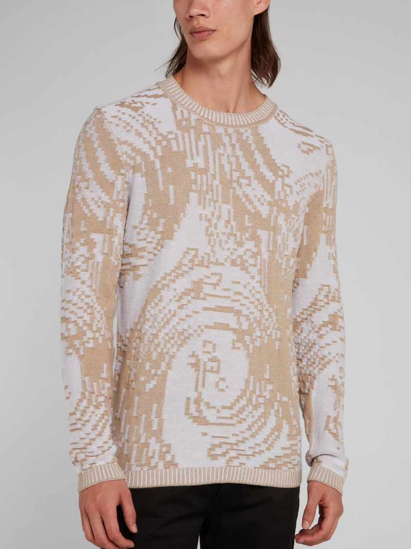 Beige Patterned Ribbed Sweater