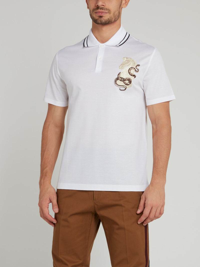White Embroidered Woven Polo Shirt