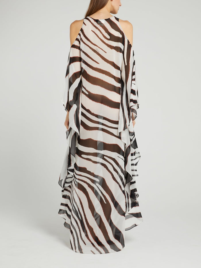 Zebra Effect Flounce Maxi Dress