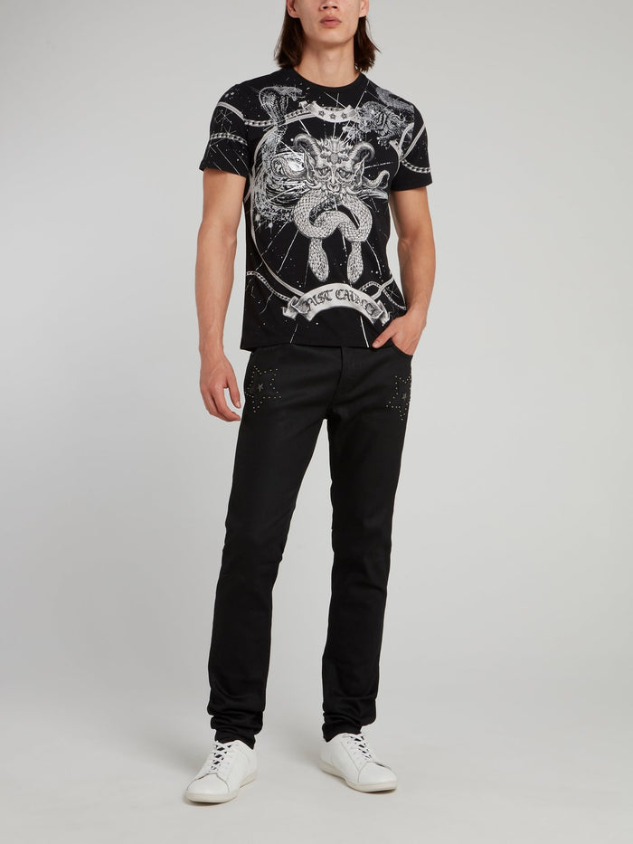Black Printed Crewneck T-Shirt