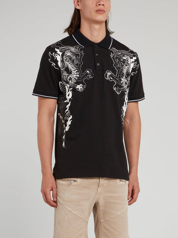 Black Dragon Print Polo Shirt