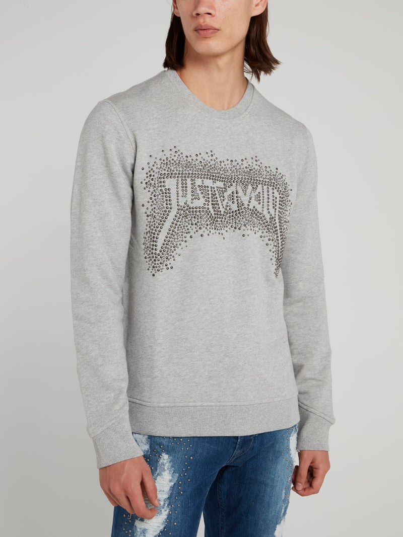 Grey Studded Logo Sweatshirt