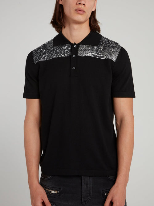 Black Snake Print Panel Polo Shirt