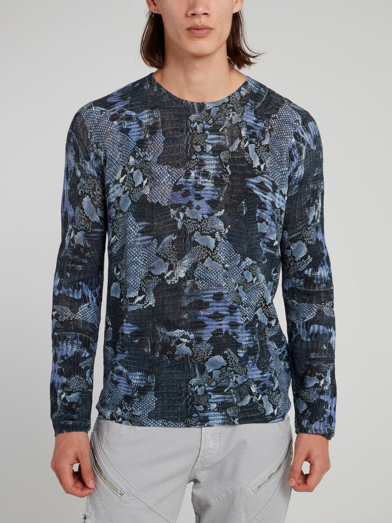 Navy Python Effect Pullover