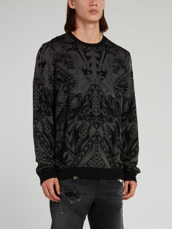 Black Patterned Pullover