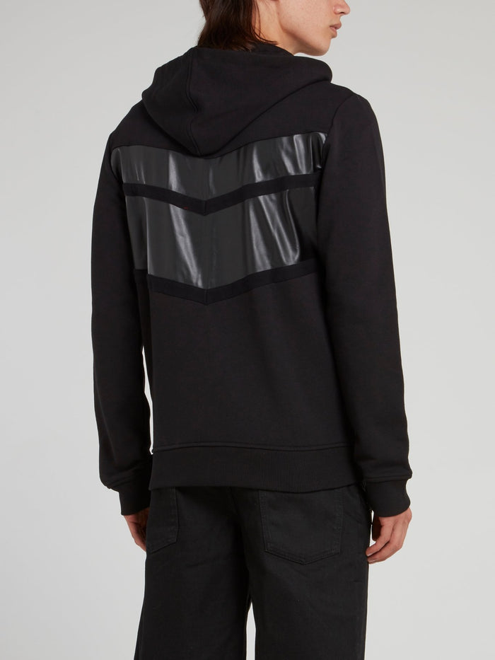Black Leather Panel Sweat Jacket