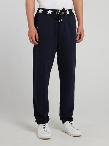 Navy Star Print Waistband Trousers