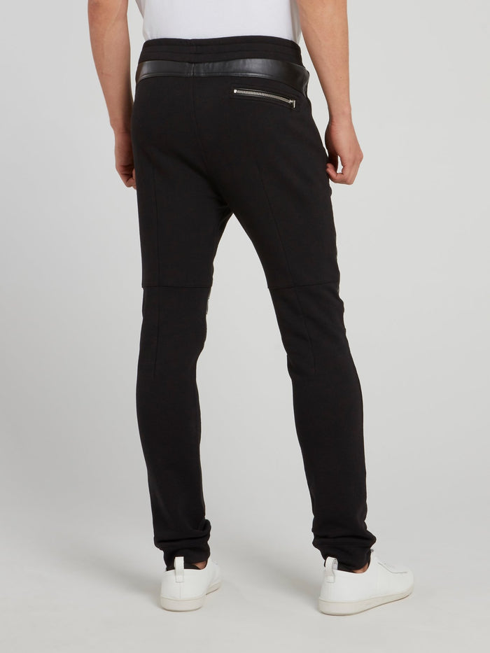 Black Leather Knee Patch Trousers