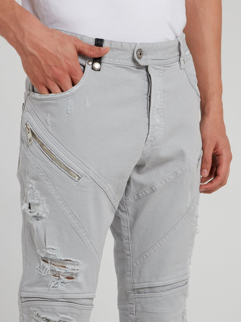 Light Grey Distressed Trousers