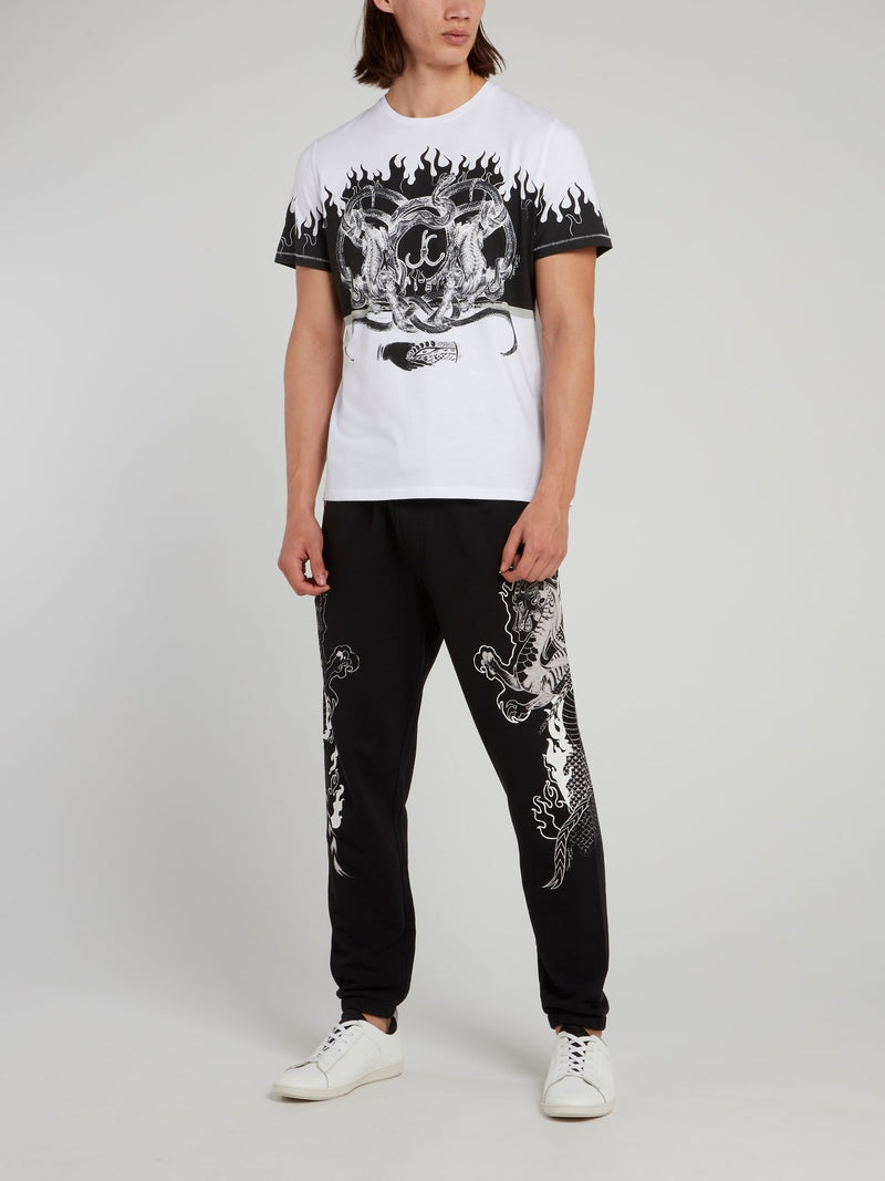 Black Dragon Print Trousers