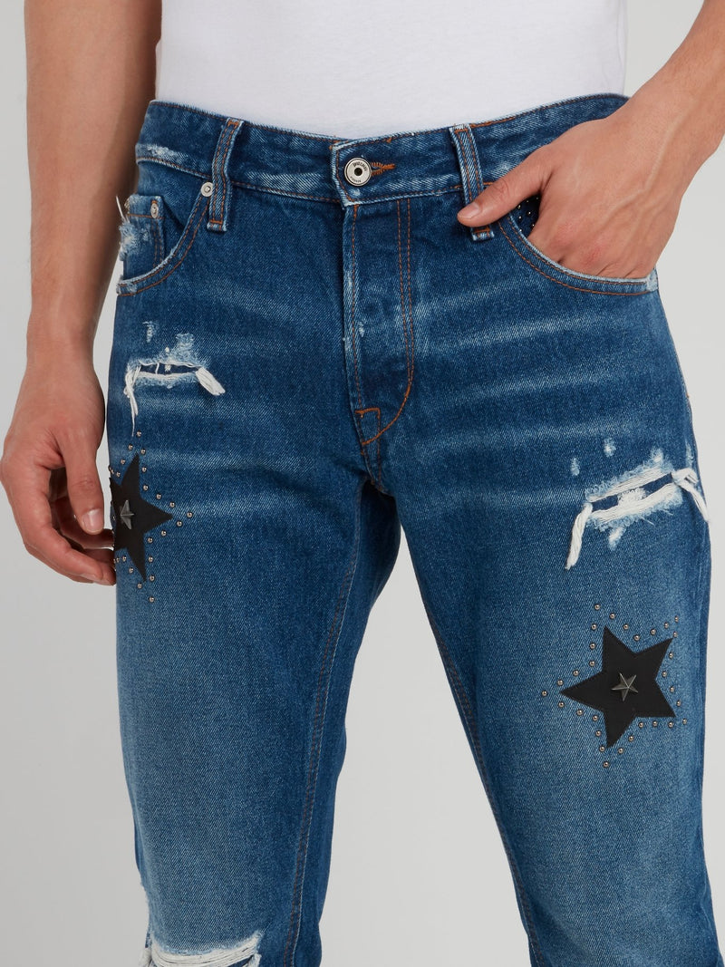 Blue Distressed Studded Jeans