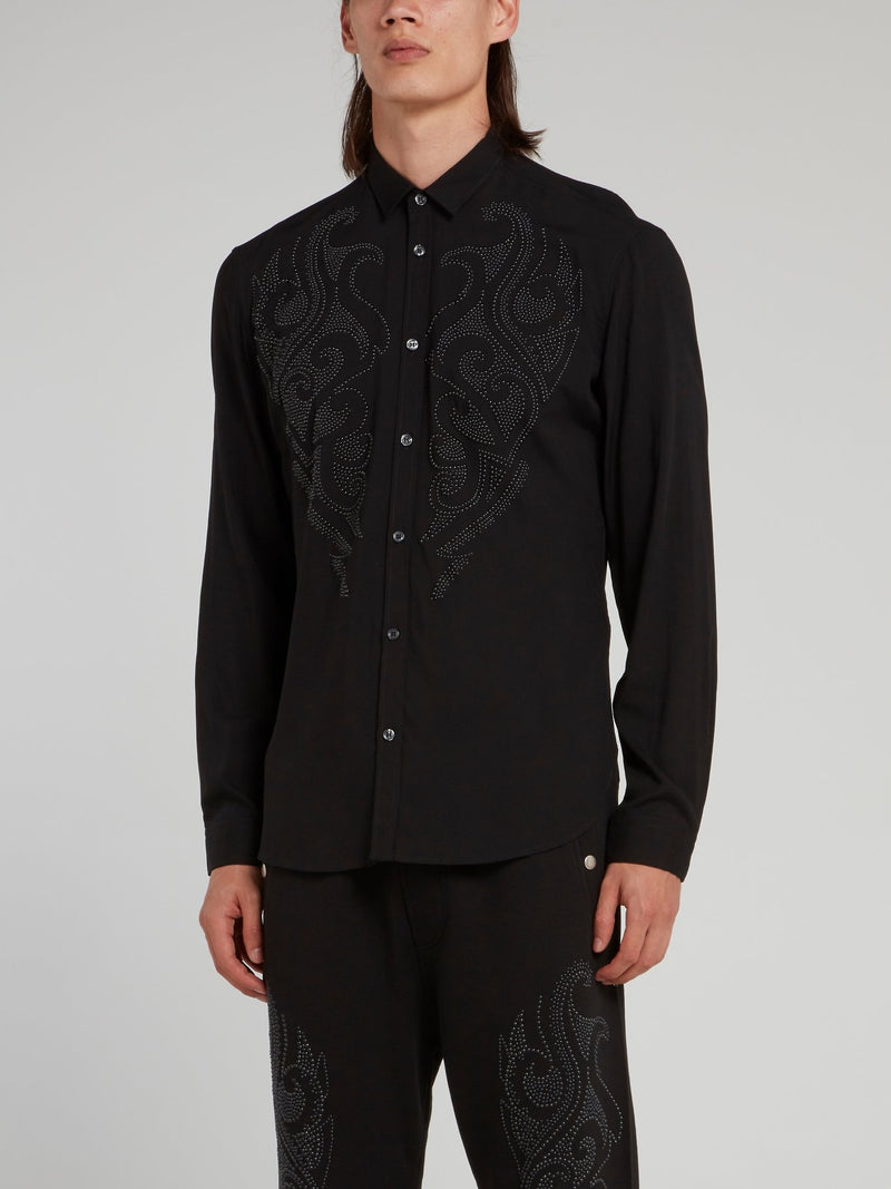 Black Micro-Stud Shirt
