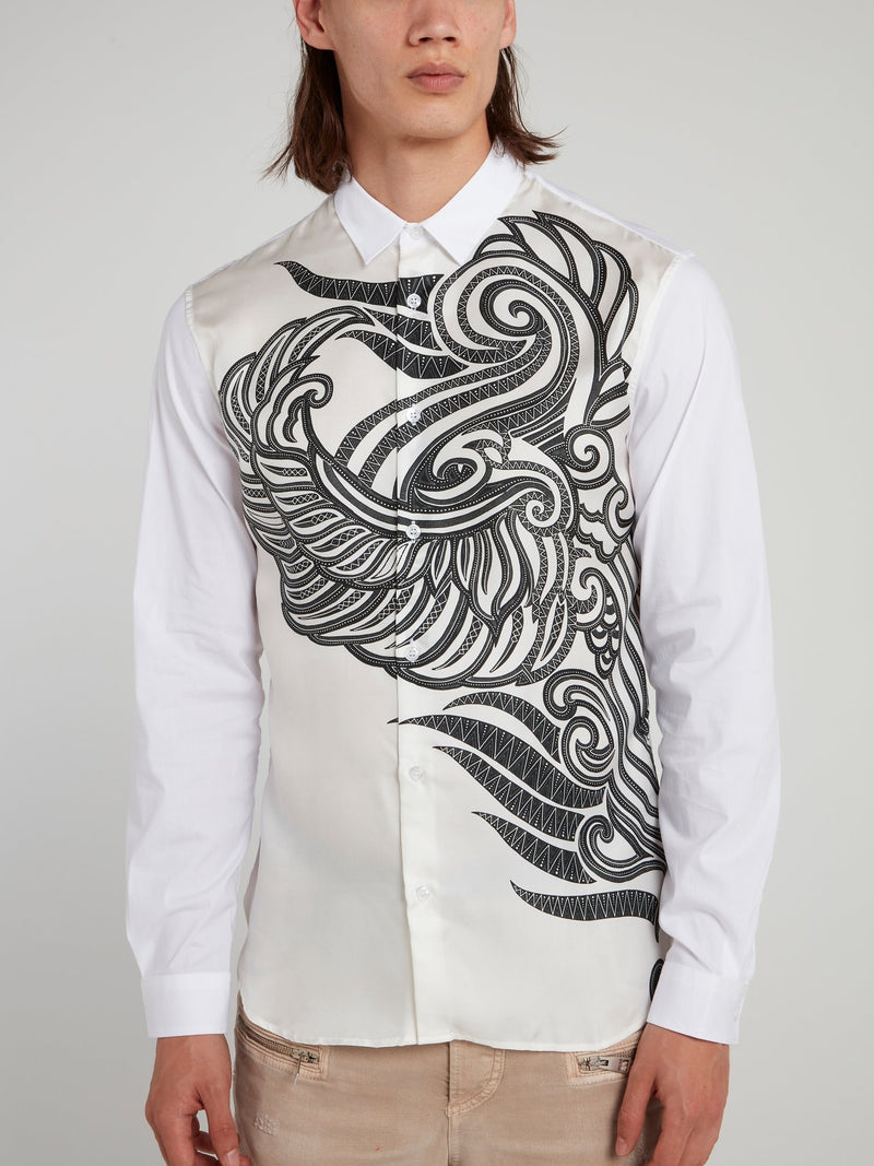 White Tattoo Print Long Sleeve Shirt