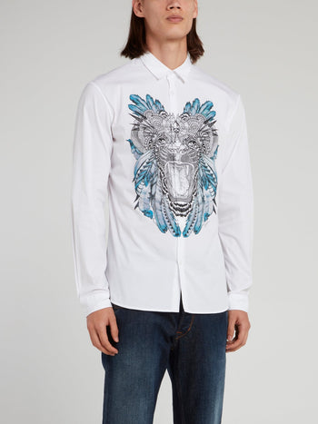 White Tiger Print Long Sleeve Shirt