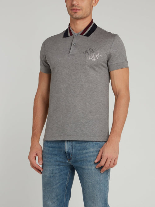 Grey Striped Collar Polo Shirt
