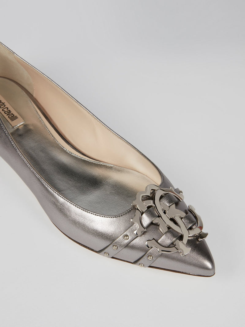 Metallic Monogram Leather Flats