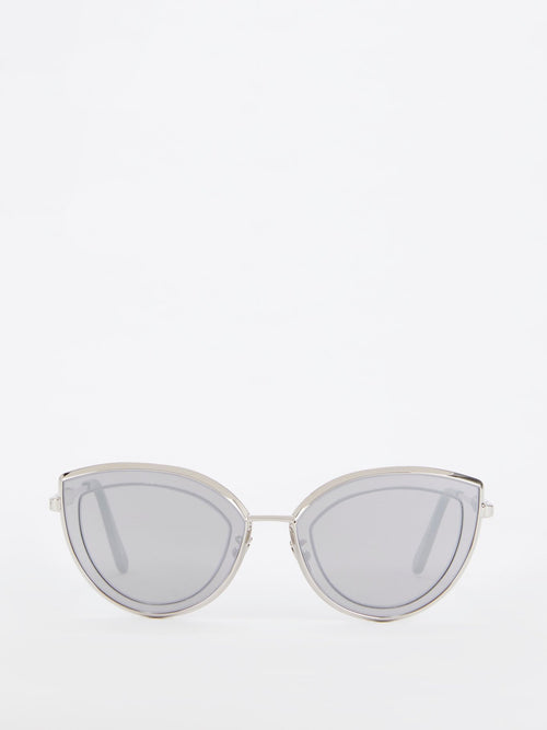 Silver Mirror Flat Cat Eye Sunglasses