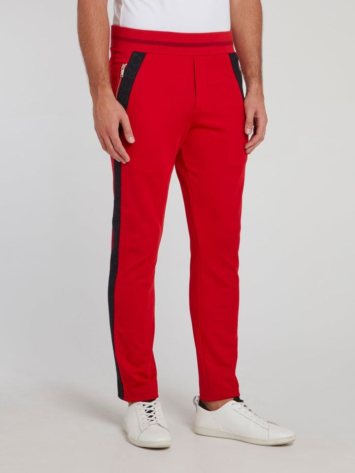Red Logo Tape Ribbed Waistband Trousers